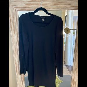 Basic Long Sleeve Black Dress